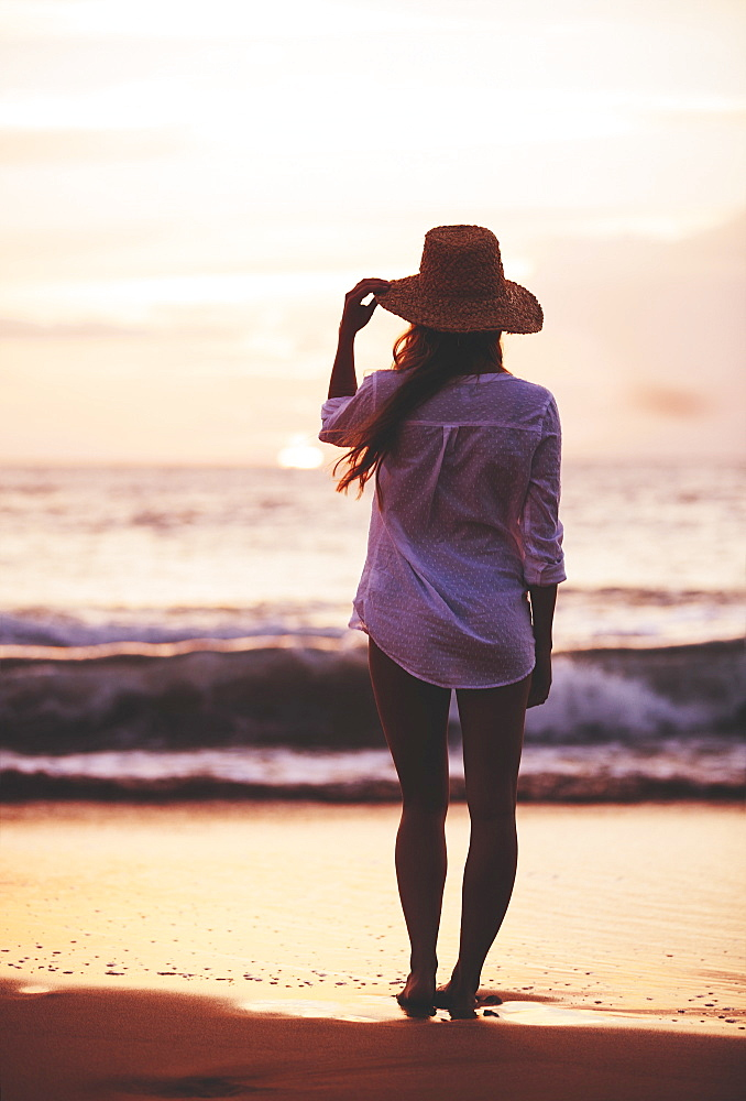 Fashion Lifestyle, Beautiful Girl On The Beach At Sunset.