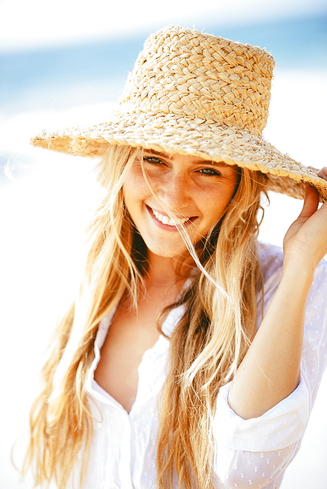Fashion Lifestyle, Portrait Of Beautiful Happy Blond Girl On The Beach