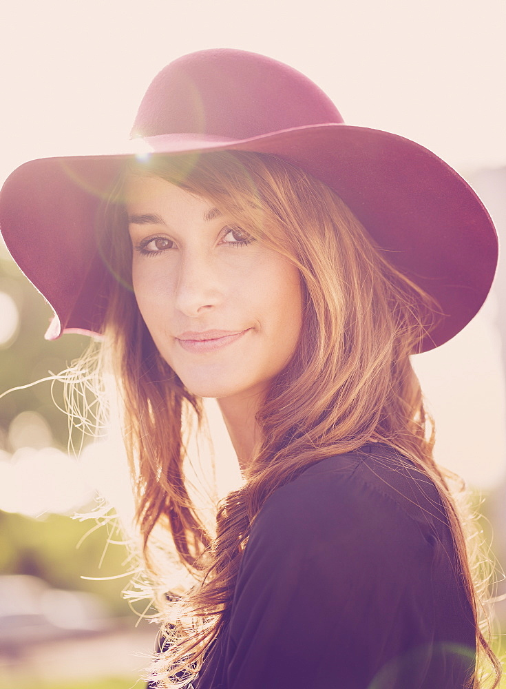 Fashion Portrait Of Young Beautiful Woman In Hat, Bright Warm Sunny Colors