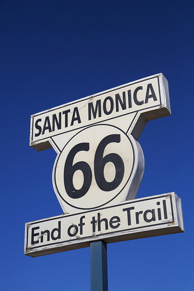End Of The Trail, Route 66 Sign, Santa Monica Pier, Santa Monica, California, United States Of America