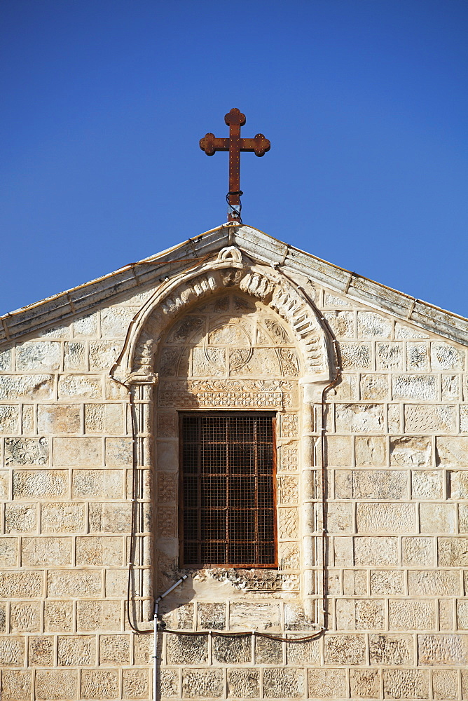 St. Gabriel Church With Cross Against A Blue Sky, Nazareth, Israel