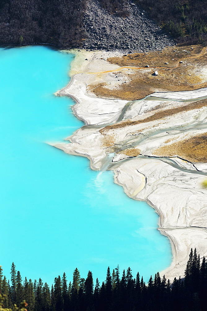 Overlooking High Above An Intense Blue Coloured Lake With Delta Shoreline, Banff National Park, Alberta, Canada - 1116-45912