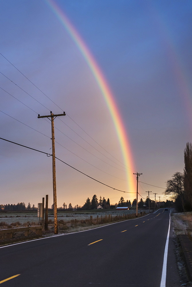 A Rainbow Brightens A Sky, Astoria, Oregon, United States Of America