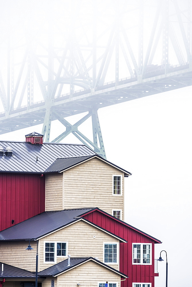 The Astoria-Megler Bridge Disappears Into The Fog, Astoria, Oregon, United States Of America