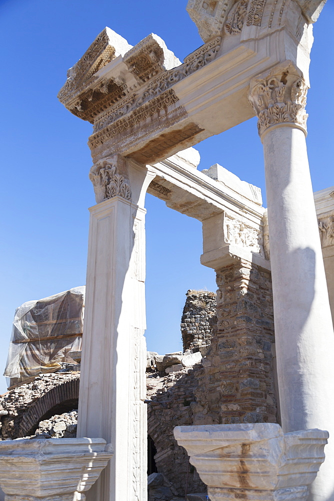 A Close Up Look At Reconstructed Columns Of The Ephesus Ancient City Historic Site In Selcuk, Ephesus, Izmir, Turkey