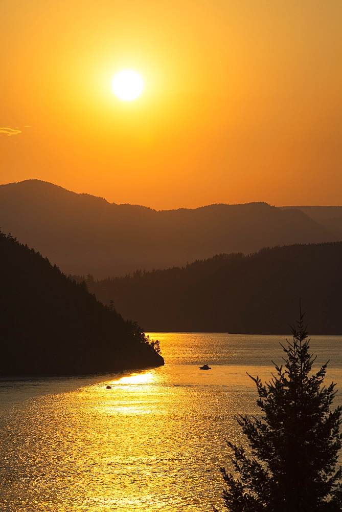 Smoke From Bc Wildfires Adds Colour To The Sunset Over Howe Sound, British Columbia, Canada