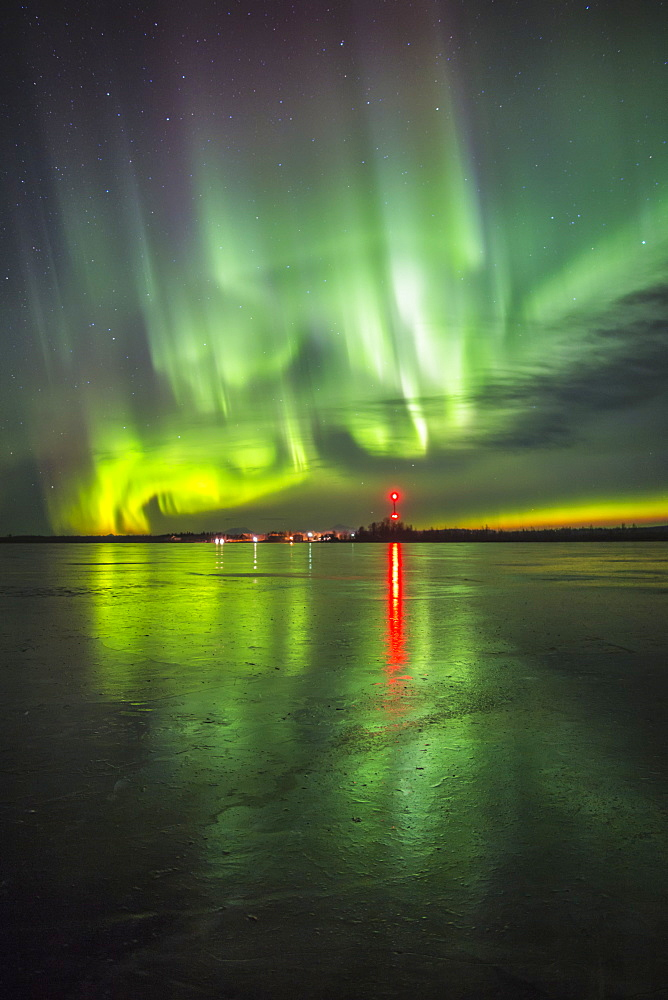 Northern Lights Over Frozen Big Lake, Southcentral Alaska, Winter