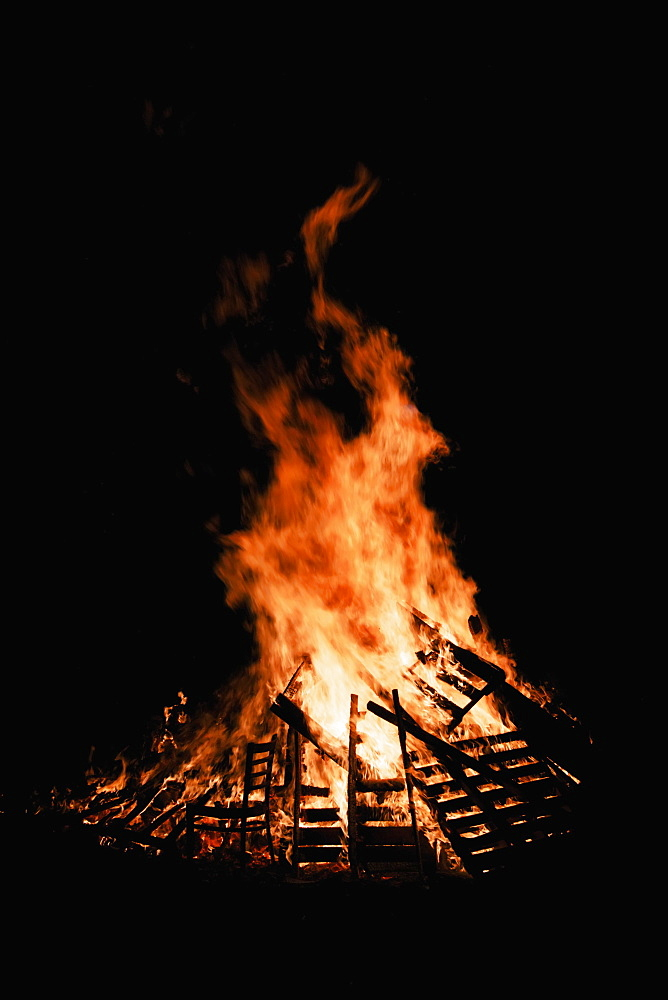 Guy Fawkes Night, Bonfire Burning At Night, London, England