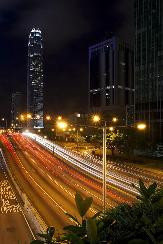 Streaks Of Light From Traffic Outside Skyscraper, Hong Kong, China