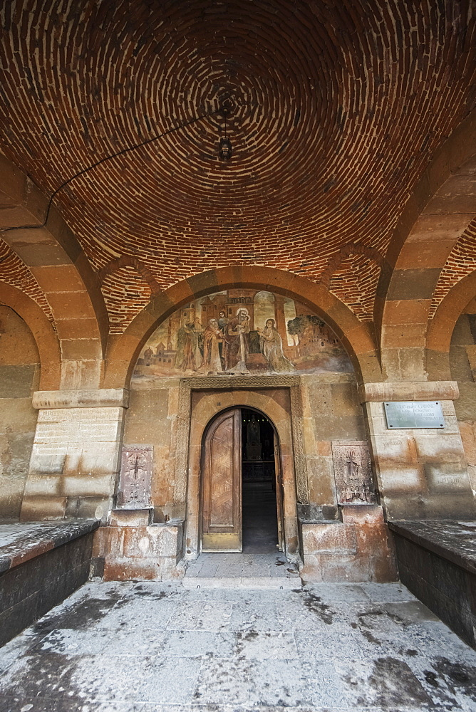 Frescoes Depicting Saints On The Tympanum Above The Door To Saint Gayane Church, Vagharshapat, Armavir Province, Armenia