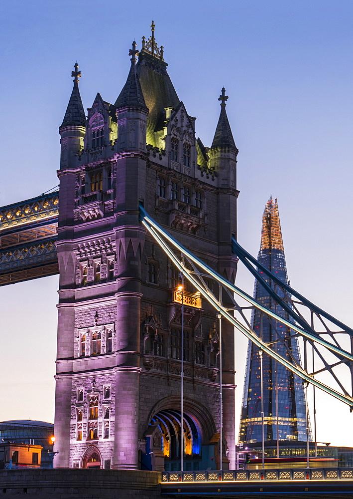 Tower Bridge And The Shard, London, England