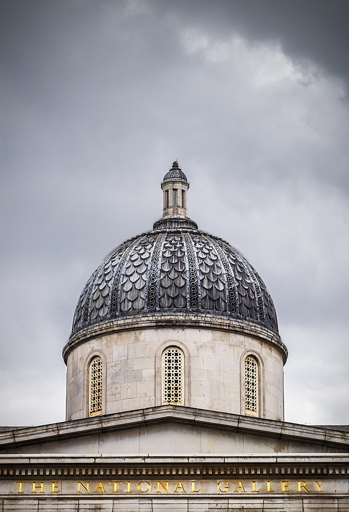 The Dome Of The National Gallery Against A Stormy London Sky, London, England