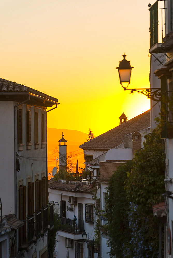 Beautiful Sunset On The Streets Of Albaicin Neighborhood, Granada, Andalucia, Spain