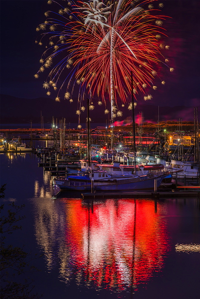 Fireworks Light Up The Harbour, Ilwaco, Washington, United States Of America