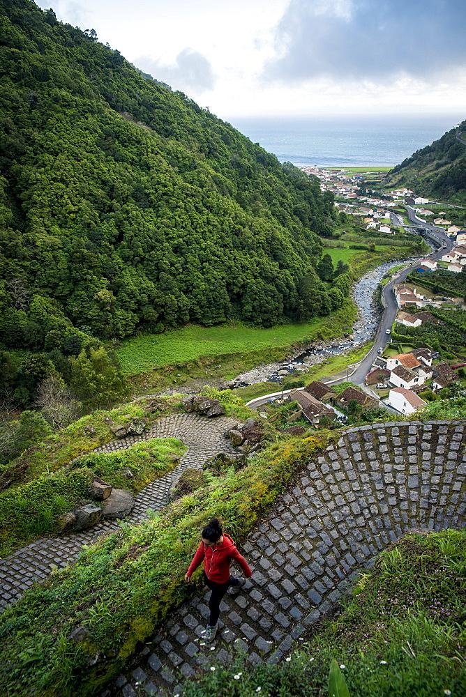 Young Woman Trekking In Faial Da Terra, Sao Miguel, Azores, Portugal