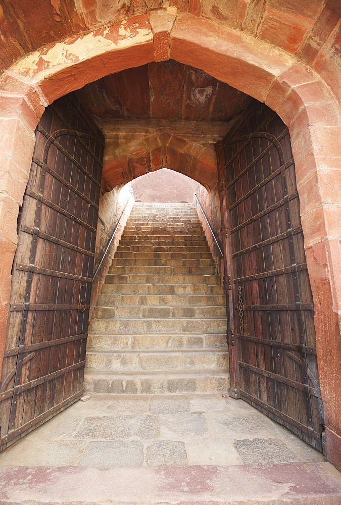 Doorway And Gates To 16th C Sandstone Mughal Tomb