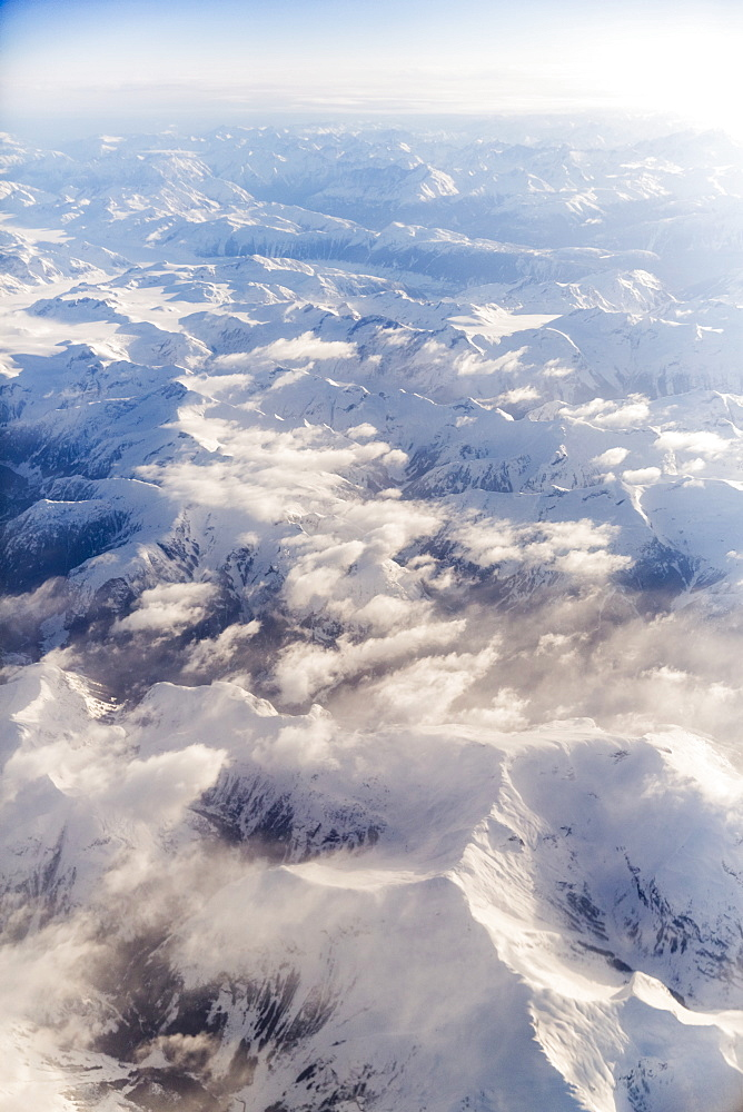 Aerial View Of Fresh Snow On The Cascade Mountain Range, Washington, United States Of America