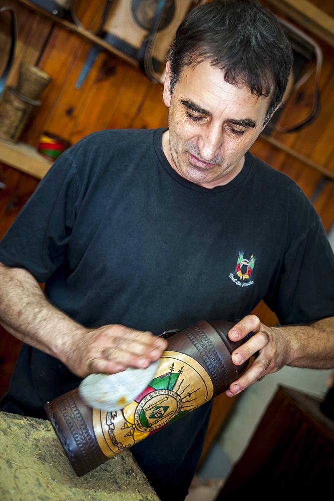 A Man Polishing A Handmade Craft, Pelotas, Rio Grande Do Sul, Brazil - 1116-46716