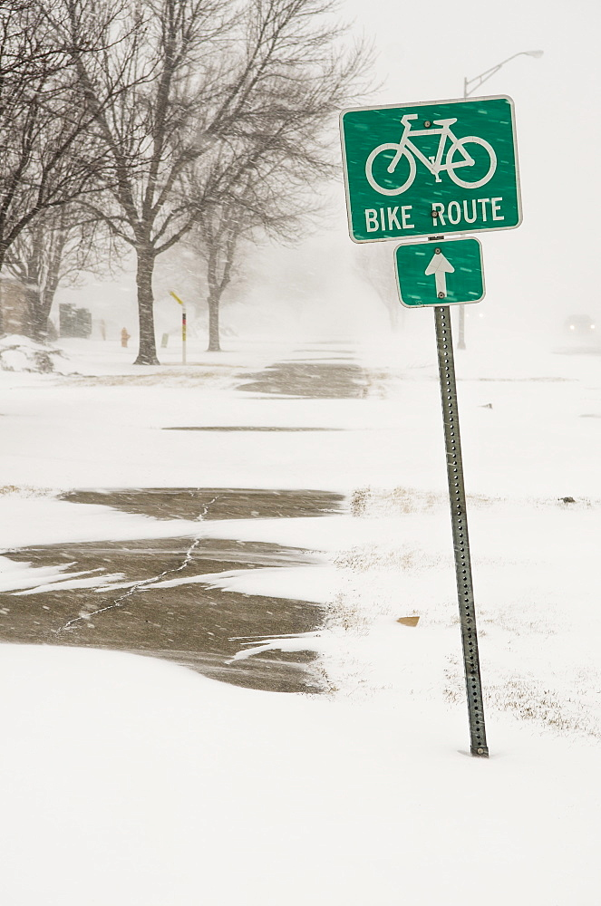 A Bike Route Sign In A Blizzard, Grand Forks, North Dakota, United States Of America