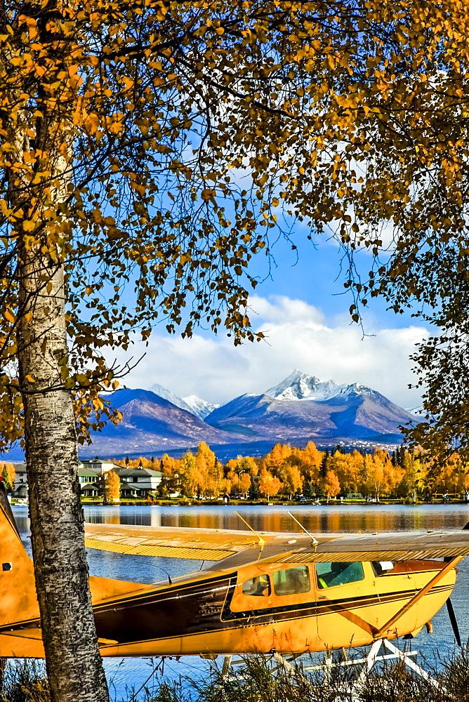 Float Plane Moored At Lake Hood Seaplane Base, Anchorage, Southcentral Alaska, Autumn