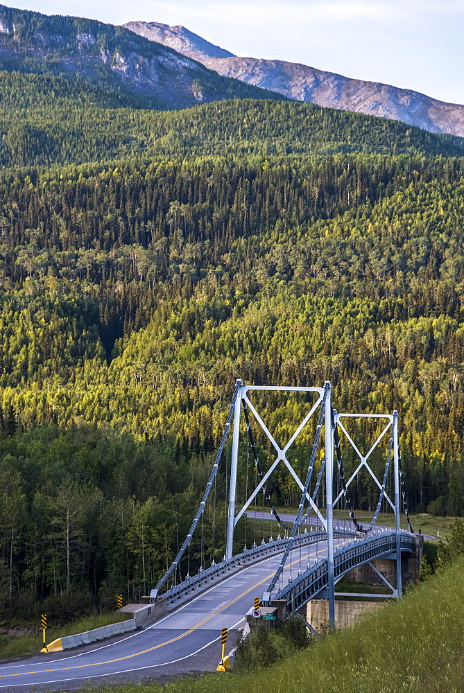 Liard River suspension bridge, last suspension bridge on the Alaska Highway, Liard, British Columbia, Canada