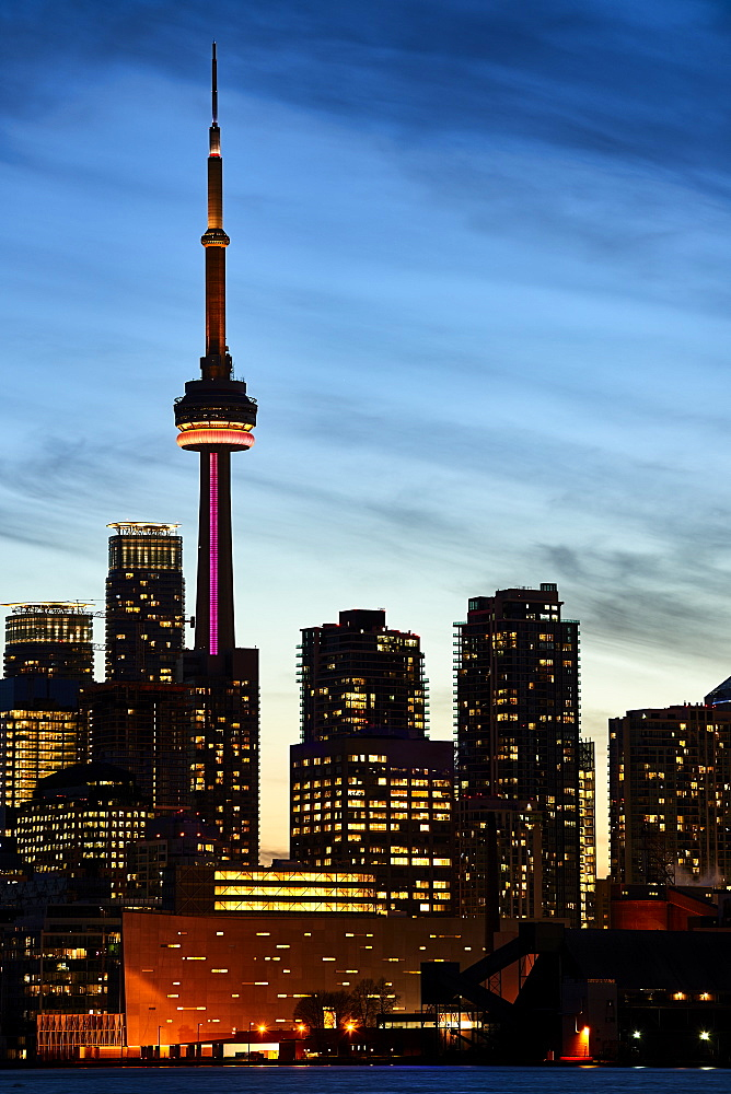 Skyline Of Toronto And Cn Tower Illuminated At Sunset, Toronto, Ontario, Canada