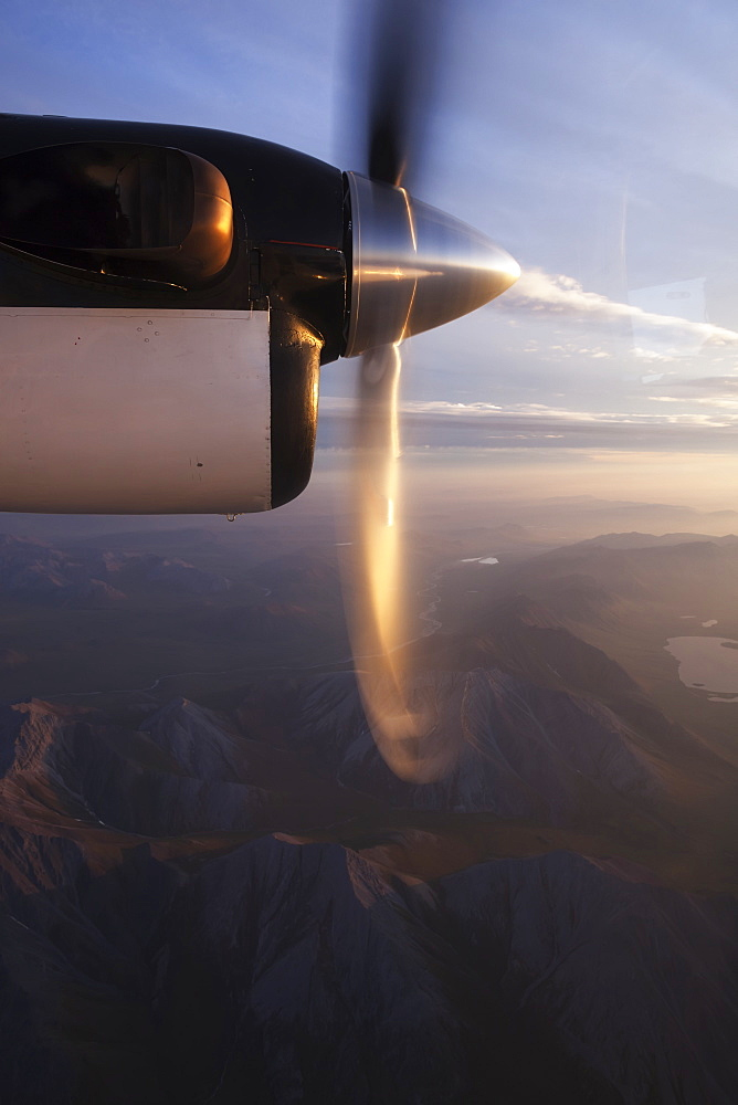 The Spinning Blades Of A Propeller On A Plane Over Brooks Range, Alaska, United States Of America