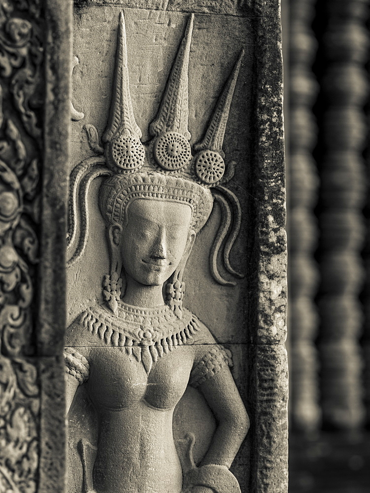 Buddhist Figure Carved In Stone At A Buddhist Temple, Angkor Wat, Krong Siem Reap, Siem Reap Province, Cambodia
