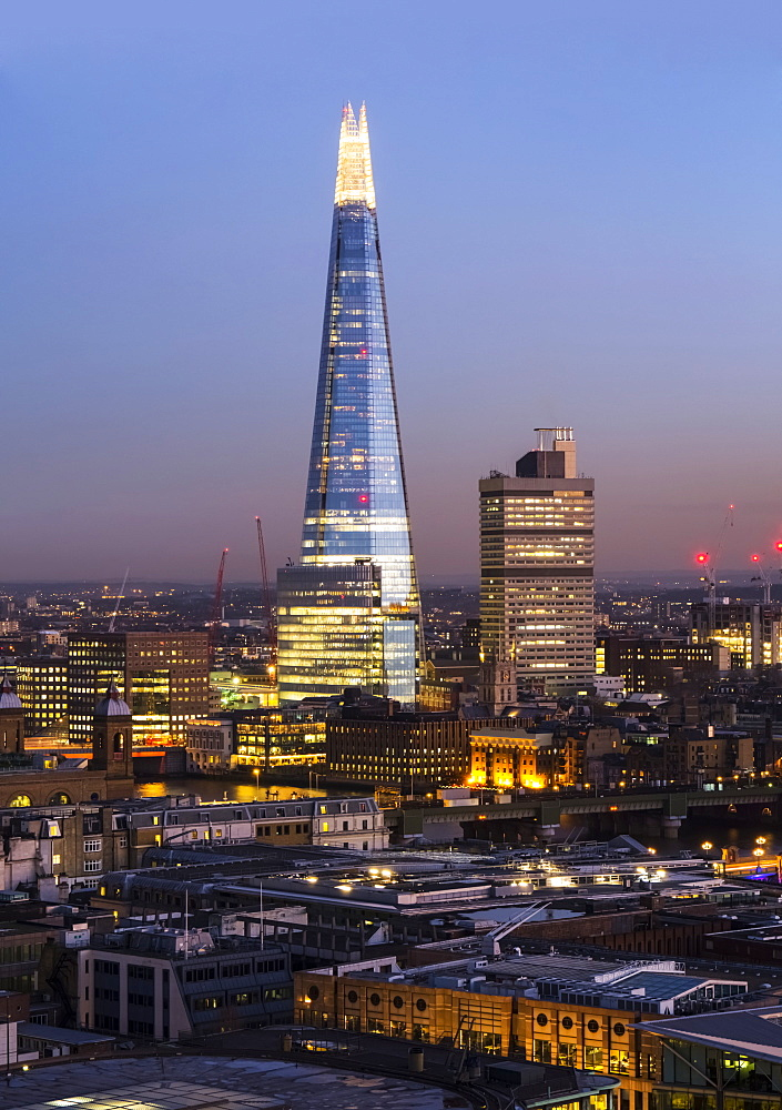The Shard And Cityscape At Dusk, London, England