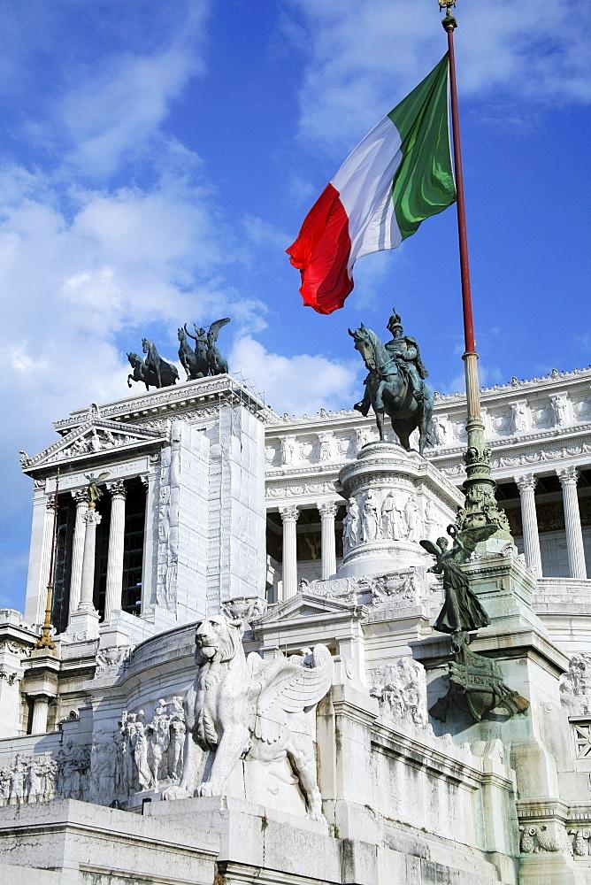 Rome, Italy; The Vittorio Emanuele Ii Monument And The Italian Flag