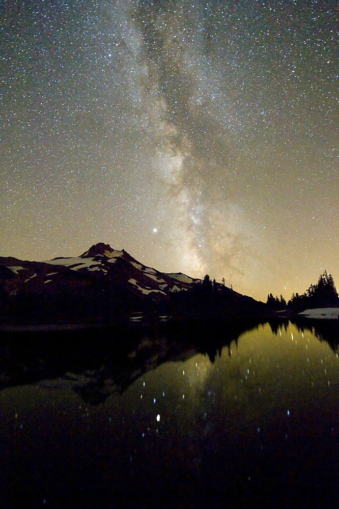 Oregon, United States Of America; Milky Way Over Mt. Jefferson