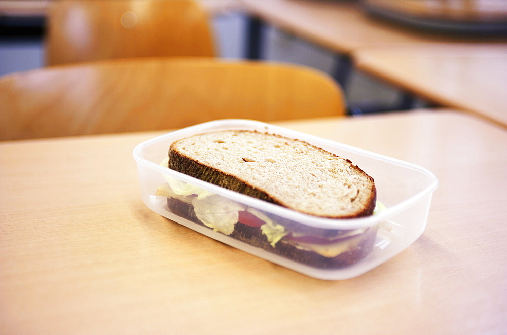 A sandwich in a plastic box
