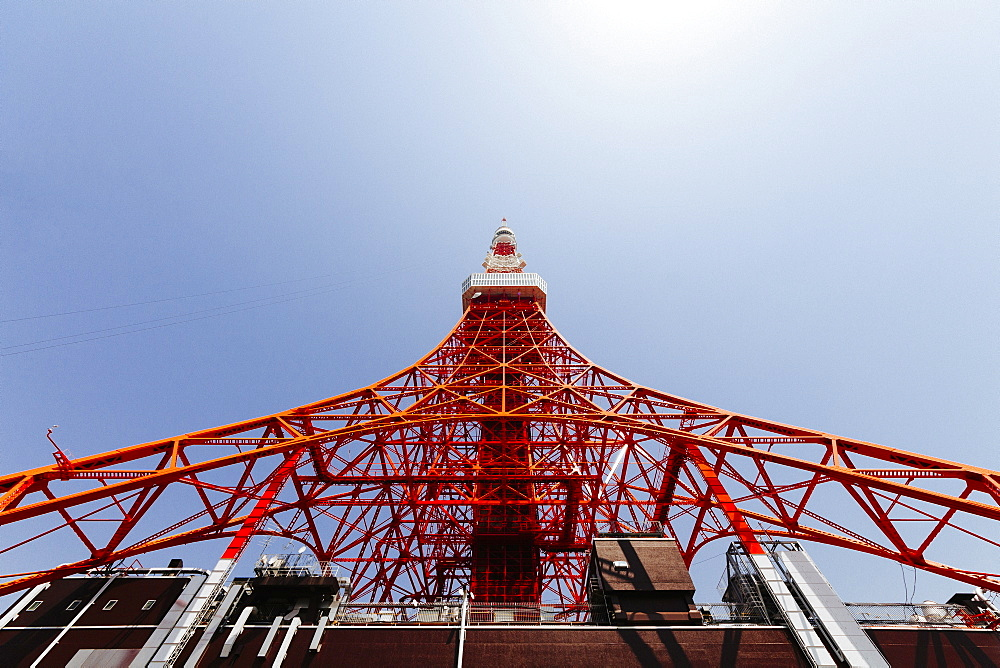 Low angle view of Tokyo Tower against clear sky