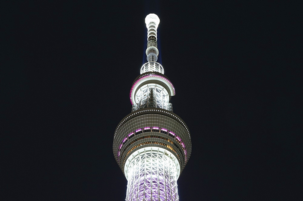 Low angle view of illuminated Tokyo Skytree against sky at night