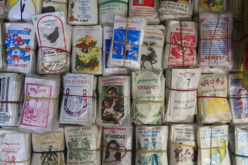Packets of magic powder displayed for sale