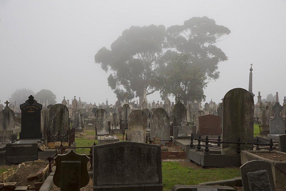 Tombstones at cemetery in Melbourne, Victoria, Australia