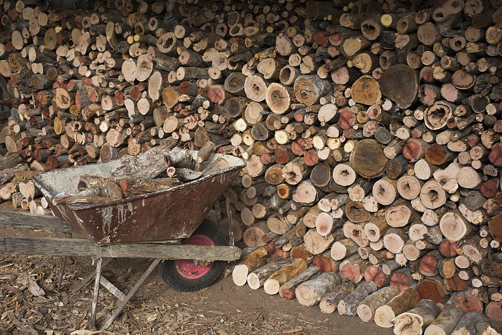 Wheelbarrow by stack of firewood