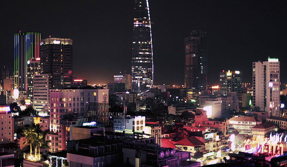 View of illuminated cityscape at night, Ho Chi Minh City, Vietnam