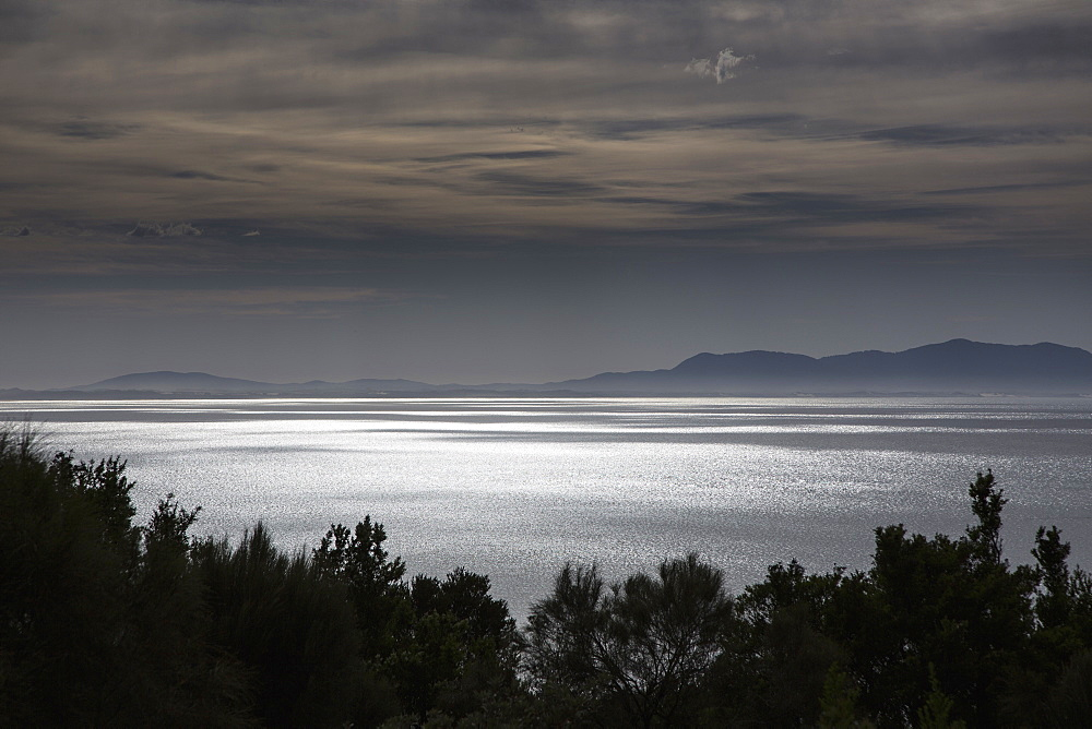Scenic view of sea at dusk
