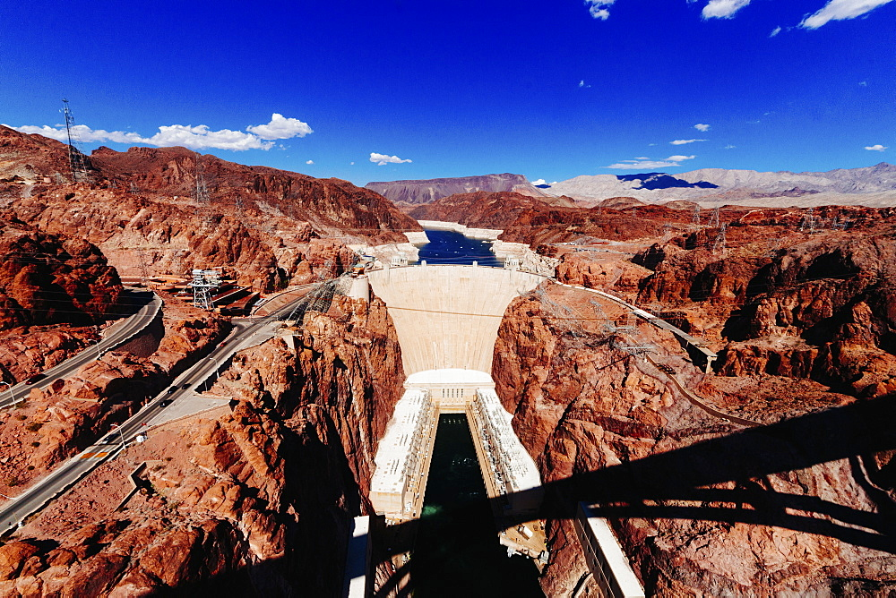 Hoover dam against blue sky