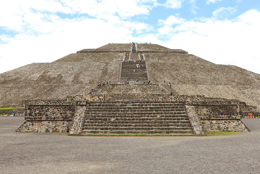 Pyramid of the Sun against cloudy sky