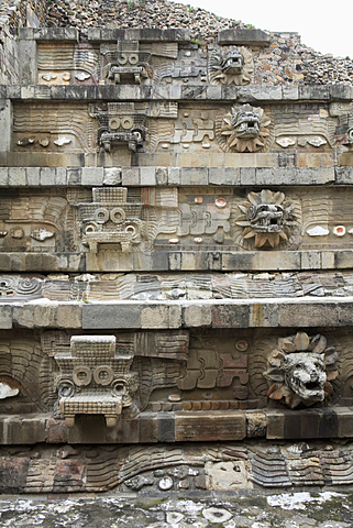 Carvings on Temple of Quetzalcoatl