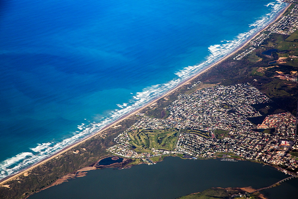 Aerial view of residential district and sea