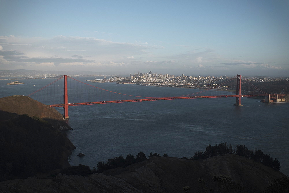 Golden Gate Bridge with cityscape in background