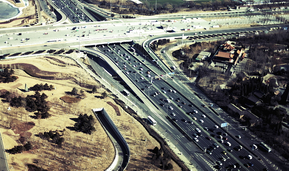 Aerial view of traffic on highways in city, Beijing, China