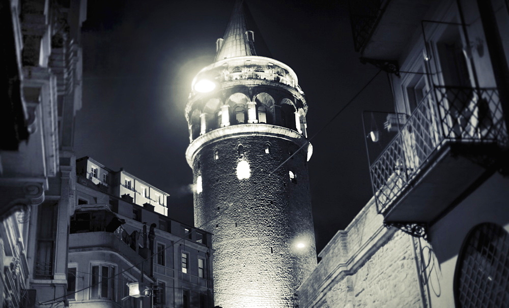 Exterior of Galata Tower at night, Istanbul, Turkey