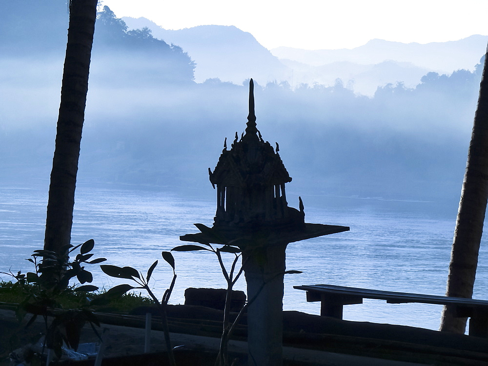 A shrine on the mekong river, luang phabang, laos