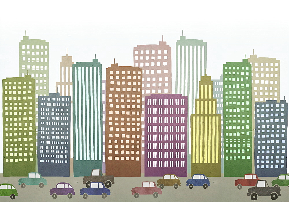 Cars moving on road by buildings in city - 1177-1711