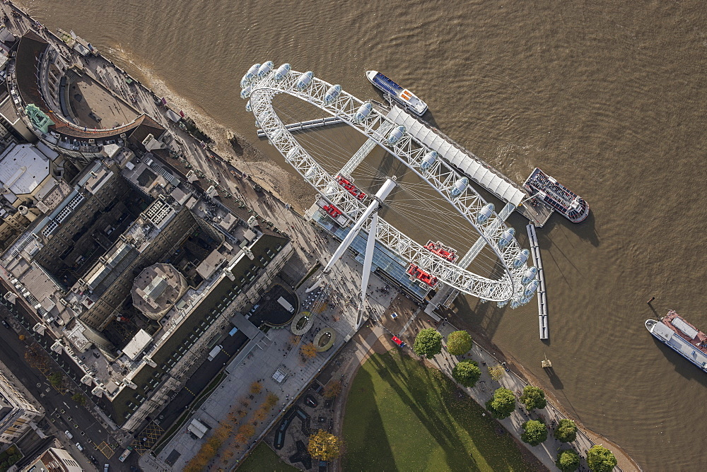 Directly above shot of Millennium Wheel by Thames River, London, England, UK