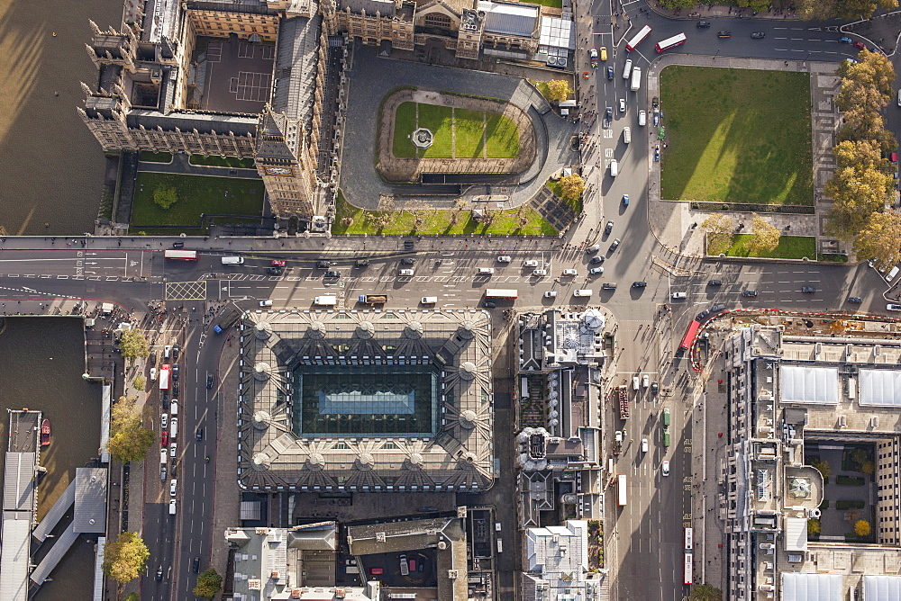 Directly above view of Westminster Bridge and Big Ben, London, England, UK - 1177-1828